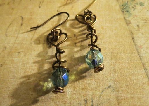 Custom Made Beautiful Brass Spiral Heart Shaped Teal Beaded Earrings Wire Wrapped
