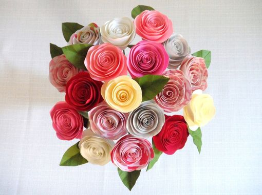 Custom Made Spiral Paper Roses - Strawberry Bouquet