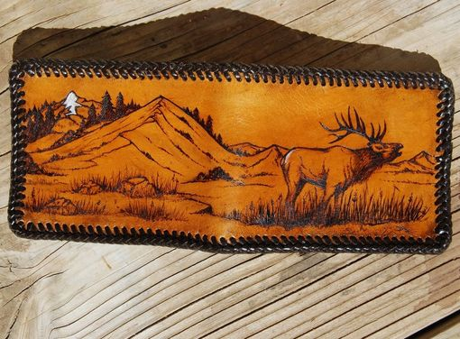 Custom Made Handmade Custom Leather Bugling Elk Wallet