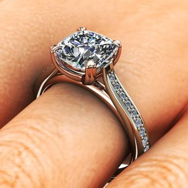Custom Made Two Tone Cathedral Diamond Solitaire Engagement Ring