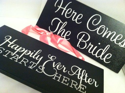 Custom Made Here Comes The Bride Wedding Sign, Wood Painted Wedding Sign..