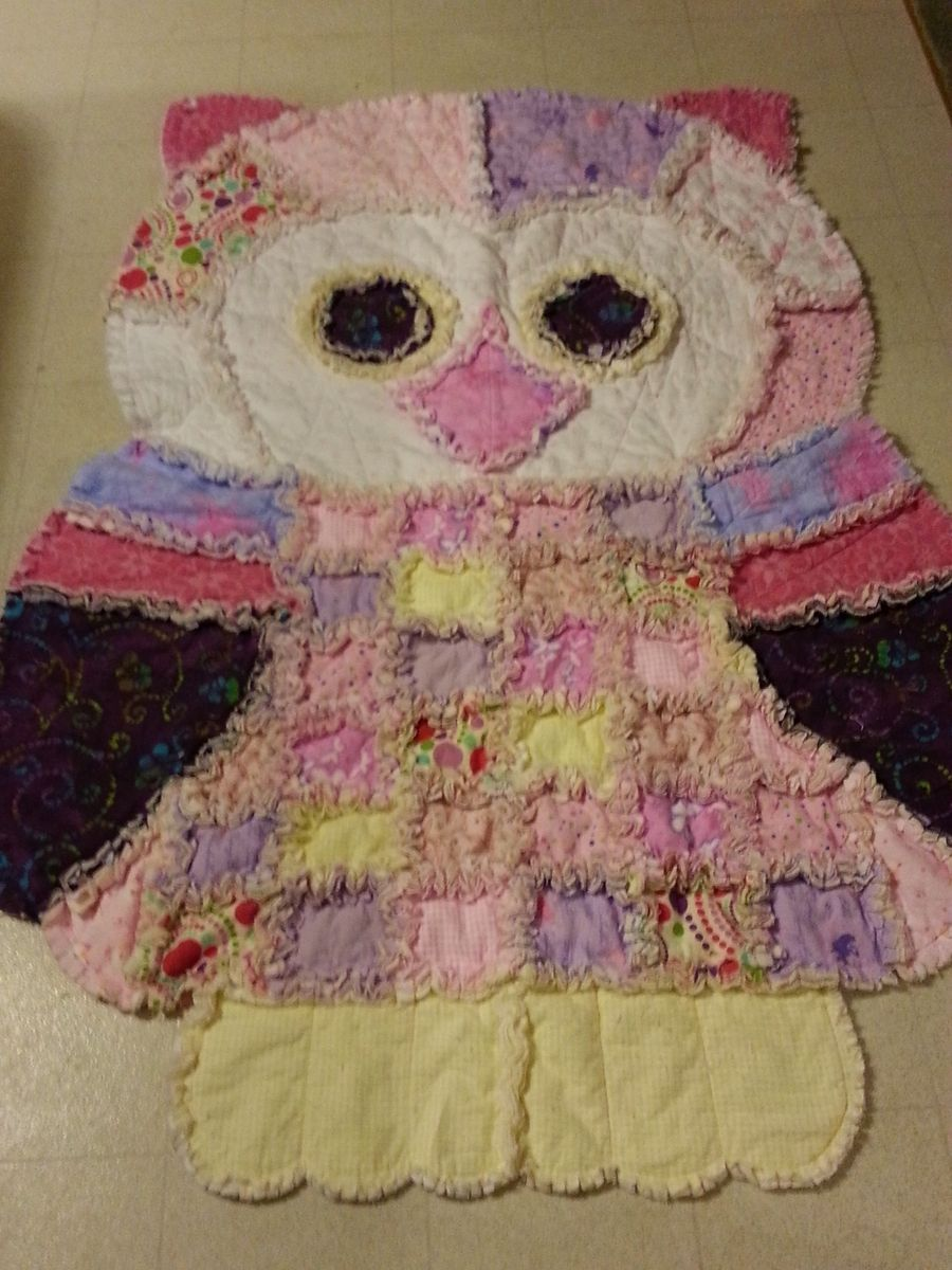 Custom Made Over 5 Foot Tall Owl Shaped Rag Quilt By