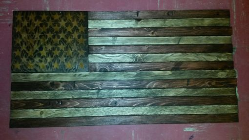 Custom Made Rustic Distressed Wood American Flag