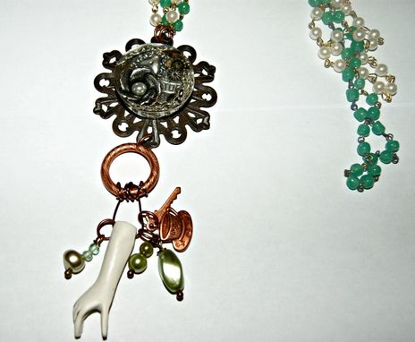 Custom Made Long Necklace - Ooak - Resin Cab, Polymer Clay Arm, Wiring, Rosary Beads