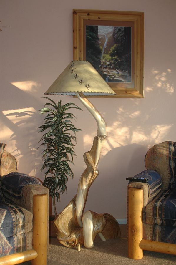 Hand Made Rustic Wood Floor Lamp Made From Twisted Juniper By Rocky