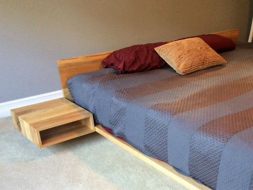 Custom Made Maple Platform Bed With Floating Nightstands