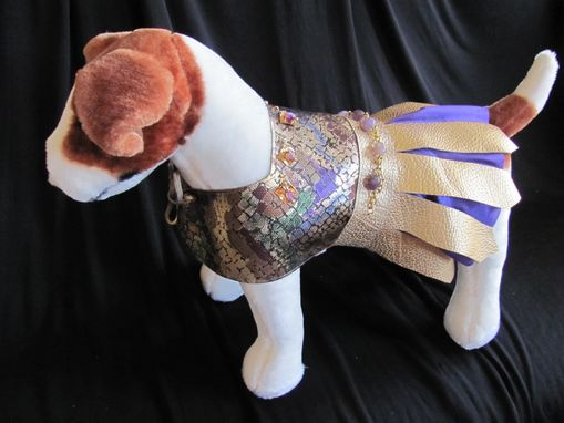 Custom Made Mosaic And Gold Leather Dog Clothes