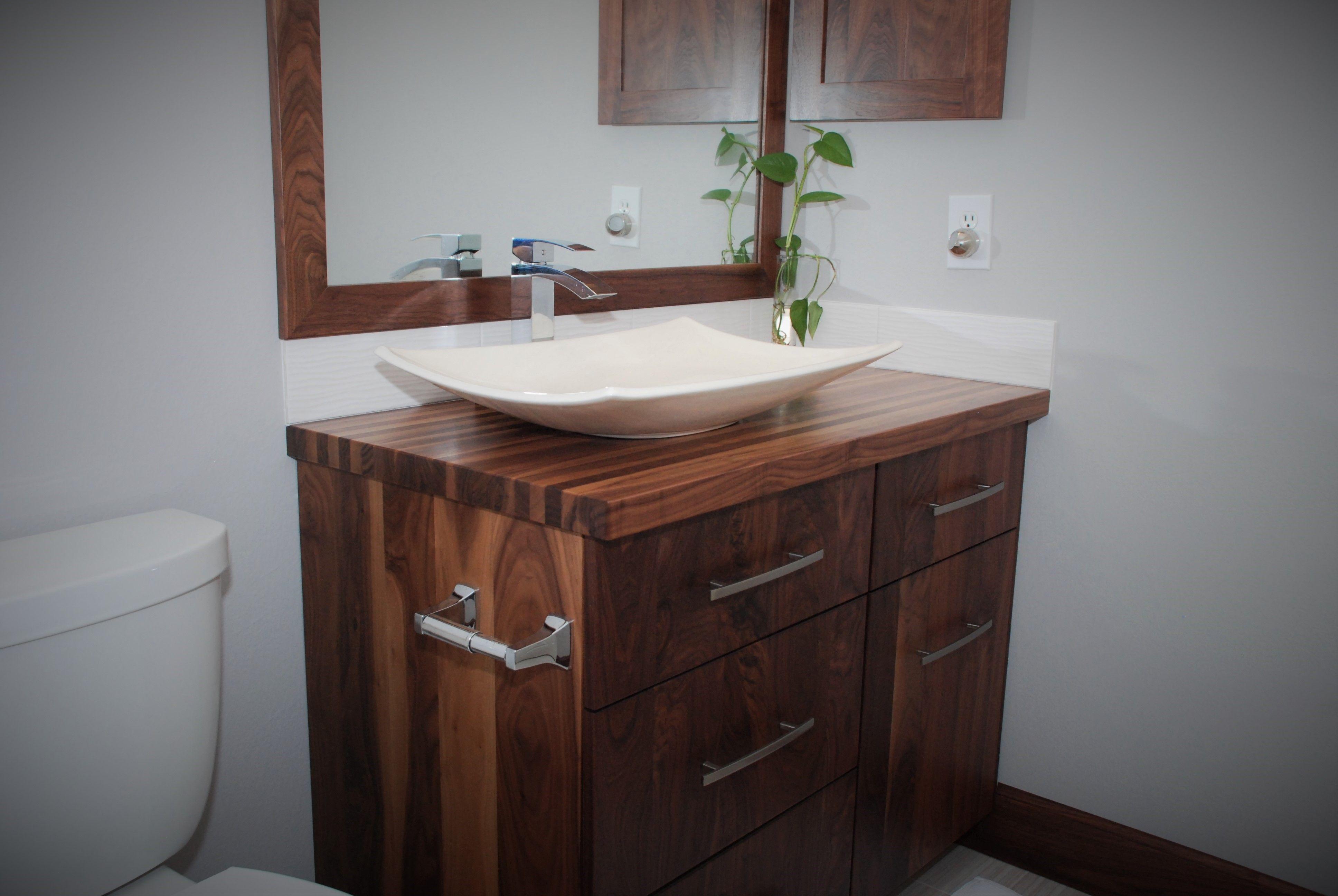 Custom made all walnut bathroom vanity