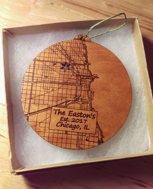 Custom Made Custom Map Ornament Made In The Usa From Urban Cherry Wood