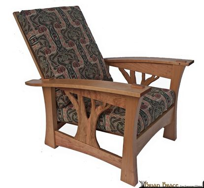 Custom Made Arbor Bow Arm Morris Chair With Celtic Knot Fabric