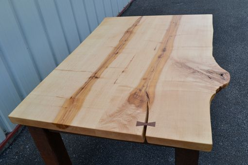 Custom Made Live Edge Maple Table With Reclaimed Barn Wood Legs