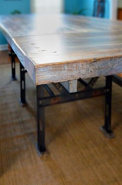 Custom Made Reclaimed Industrial Oak Table With Benches