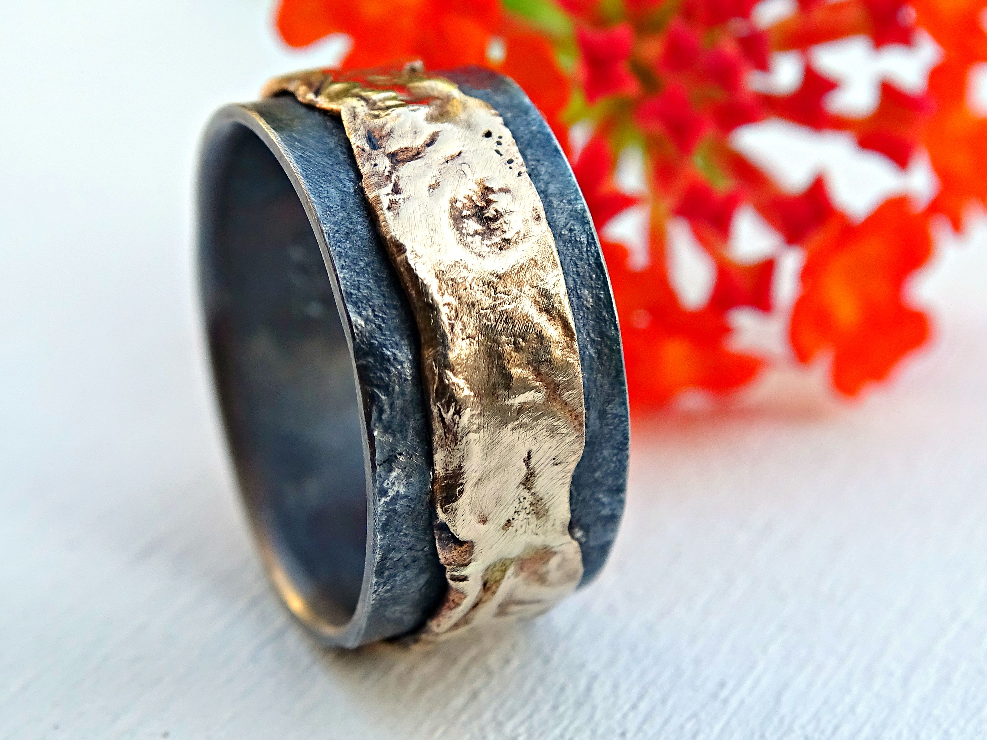 Custom Made Unique Mens Wedding Band 14k Gold And Silver Artisan Ring Molten Surface