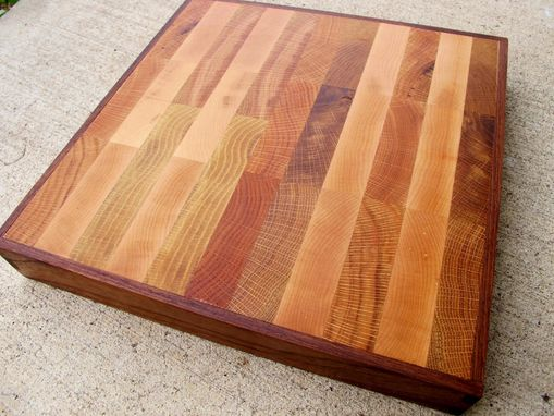 Custom Made Personalized End Grain Cutting Board Dovetail Framed In Walnut