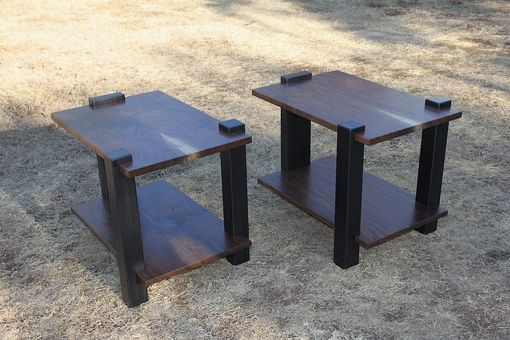 Custom Made Modern Walnut And Steel End Tables Or Nightstands