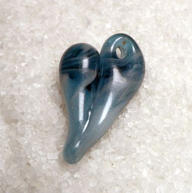 Custom Made Blue And White Glass Heart Pendant