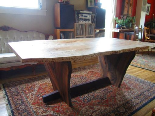 Custom Made Live Edge Maple And Walnut Dining Table