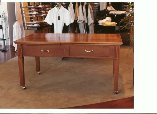 Custom Made Custom Cherry Display Table With Butler Hinges