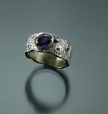 Custom Made Wide Textured Silver Band W/ Amethyst Stone