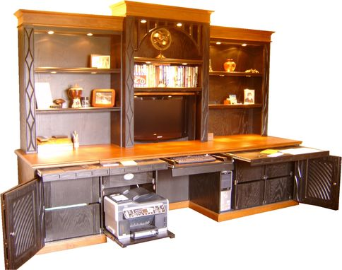 Custom Made Black Cherry Water Fall Desk With Video Lift