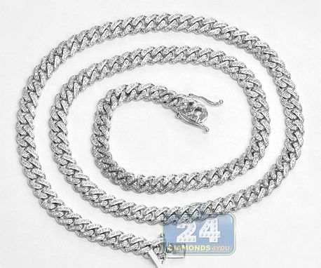 Custom Made 10k White Gold 10.14 Ct Diamond Miami Cuban Mens Chain 30 Inches