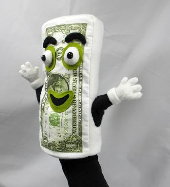 Custom Made Stuffed Toy , Hand Puppet - Dollar Bill Puppet