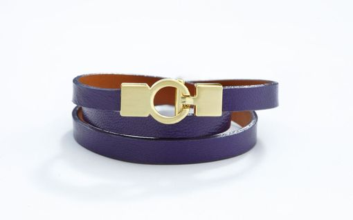 Custom Made Genuine Leather Triple-Wrap Bracelet In Deep Purple