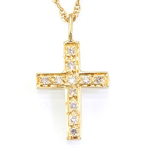 Custom Made Diamond Cross Pendant In 14k Yellow Gold, Cross Pendant, Religious Jewelry