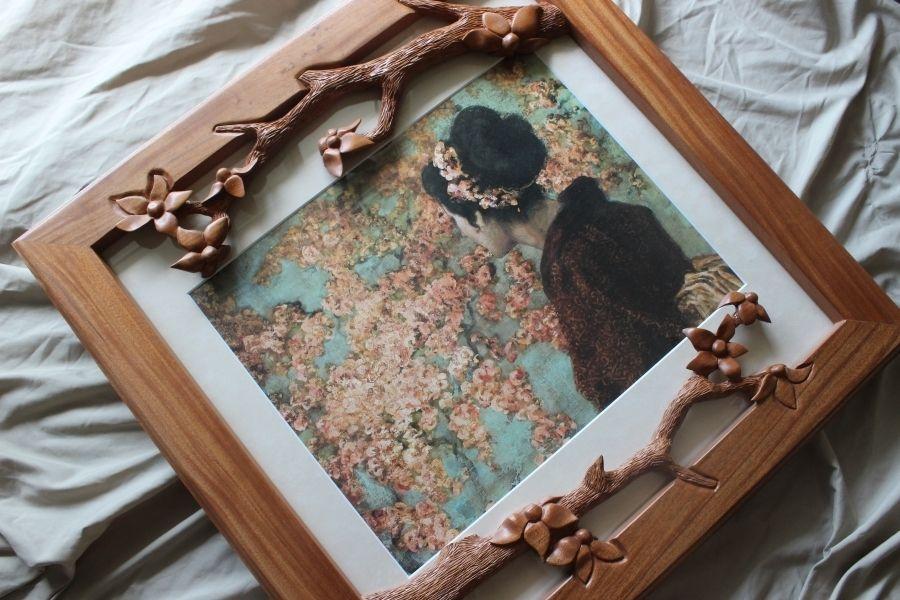 Custom Fine Art Frame Cherry Blossom Scene Hand Carved By Scott
