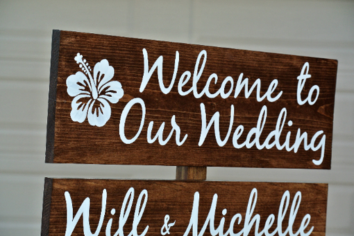 Custom Made Welcome Wedding Sign, Rustic Wood Decor Directional Signage