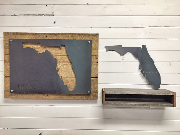 Custom Made Florida Home State Steel On Reclaimed Wood Wall Decor - Buy A Handmade Florida Home State Steel On Reclaimed Wood Wall