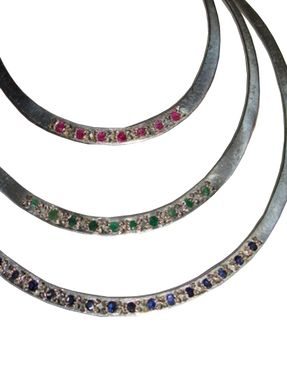 Custom Made Alberto Juan Sterling Ruby Sapphire And Emerald Hoop Earrings