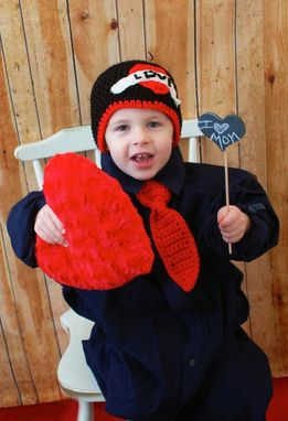 Custom Made Crocheted Valentines Hat For Boys