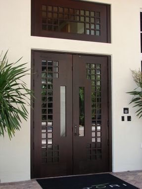 Custom Made Contemporary Entry Wood Doors And Matching Transom