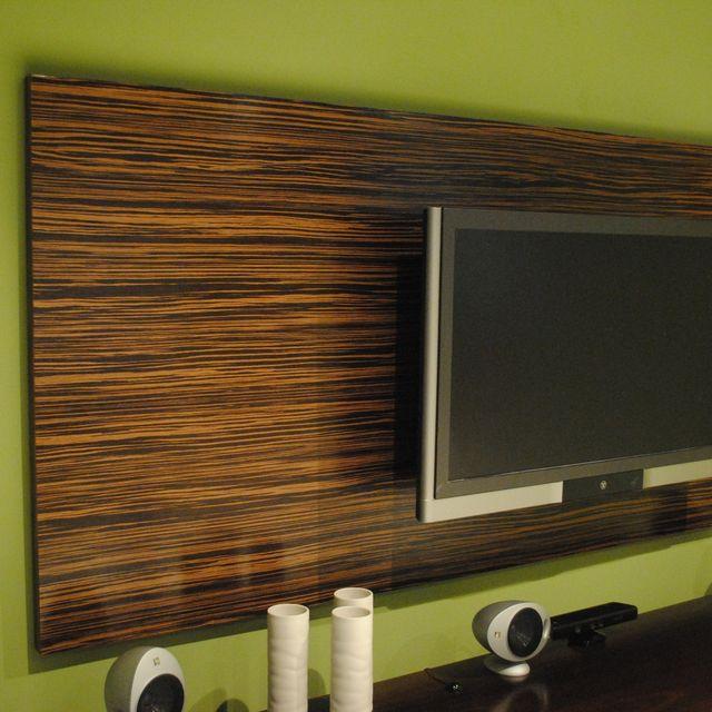 Completely new Hand Made Macassar Ebony Wood Wall Tv Panel by Paradigm Design Ny  VP36