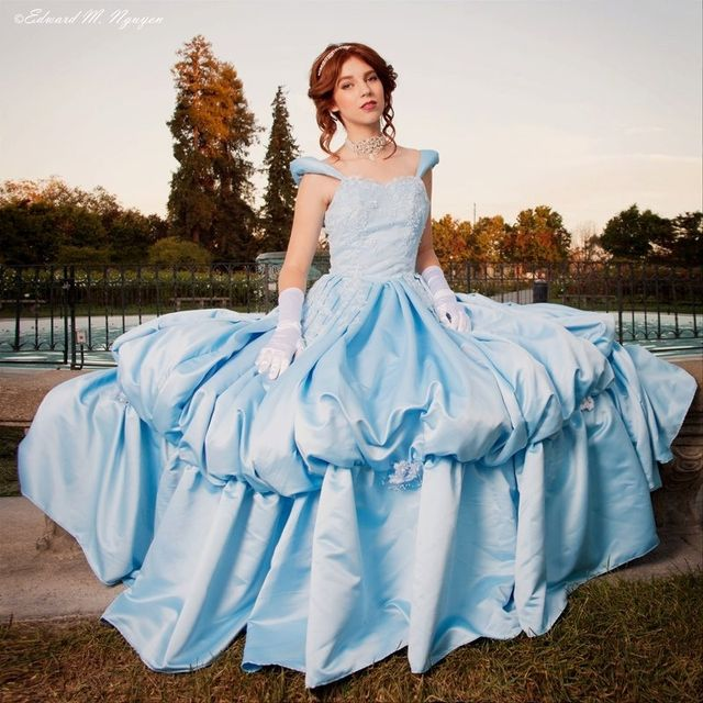 Hand Crafted Couture Cinderella Light Blue Satin Ball Gown Dress ...