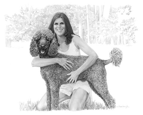 "Custom Made Portrait Of Dog And Owner, 40"" X 30"""