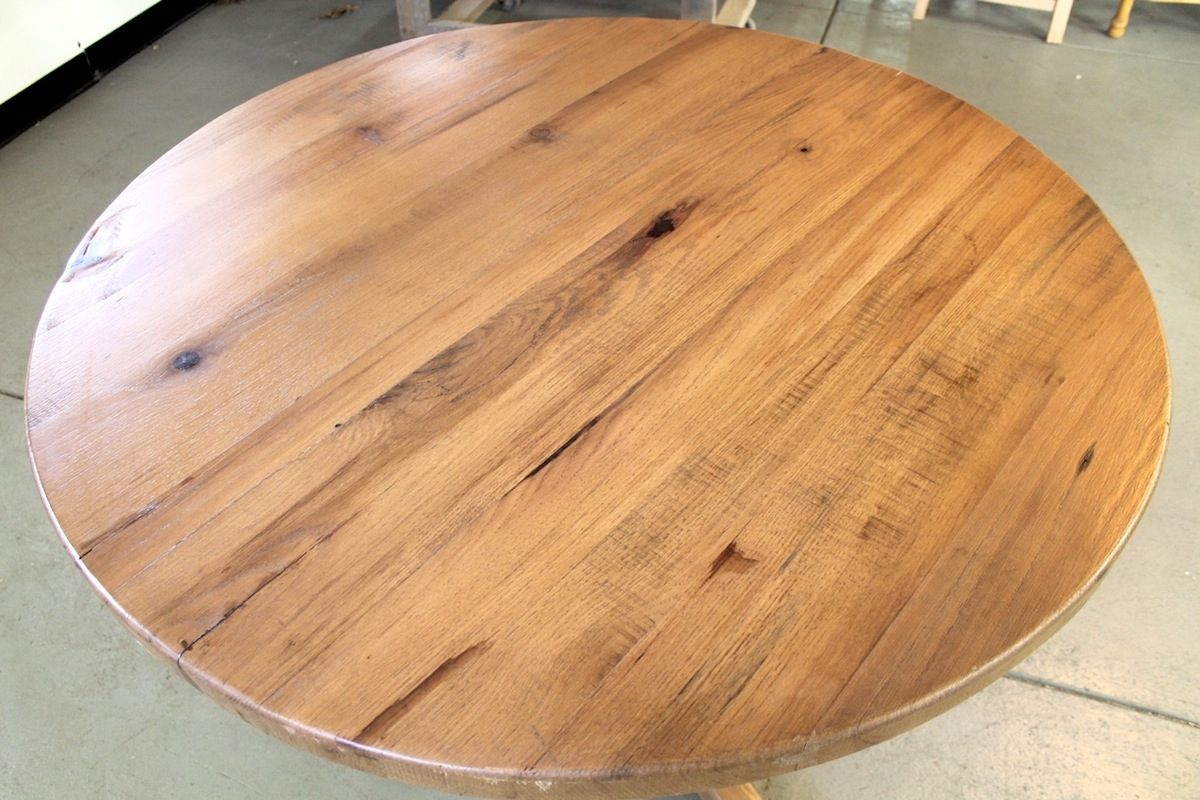 Custom Round Solid Oak Farm Table With Empire Pedestal Base By - 48 round solid wood dining table