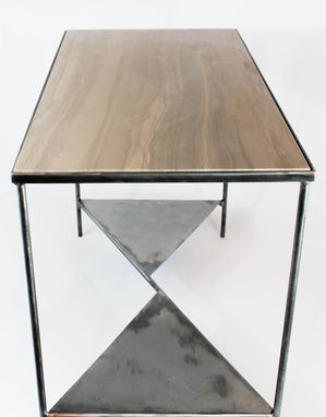 Custom Made Lennox Grey Marble And Steel Table
