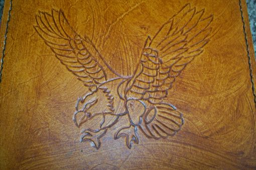 Custom Made Custom Leather Mouse Pad With Preying Eagle Design