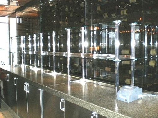 Custom Made Bar Shelves With Glass And Stainless Steel