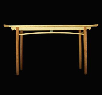Custom Made Bird's Eye Maple And Cherry Console Table