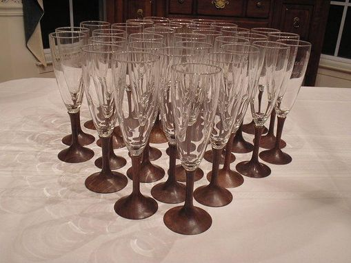 Custom Made Wedding Bride And Groom Toasting  Flutes - Walnut Stems