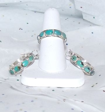 Custom Made Matching Turquoise Ring And Earrings