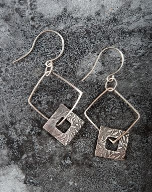 Custom Made Sterling Silver Squares Earrings