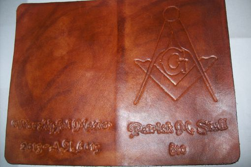 Custom Made Custom Leather Masonic Day Planner In Weathered Color
