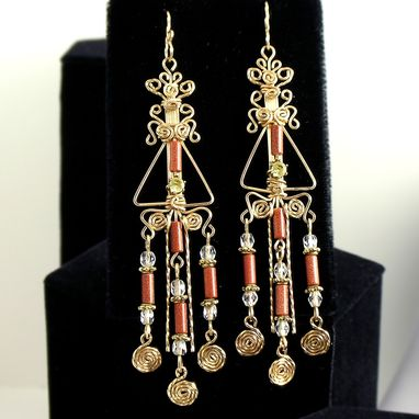 Custom Made Very Unique Long Gold Earrings - Chandelier Earrings
