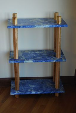 Custom Made Blue Marble Display Shelf