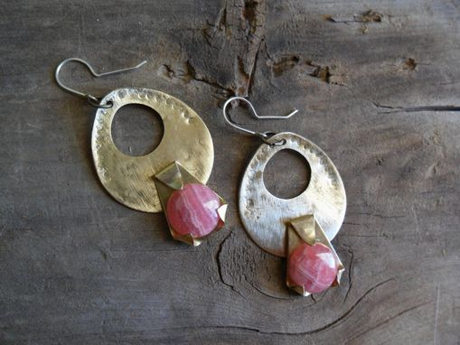 Custom Made Brass Earrings With Pink Rhodochrosite Stones