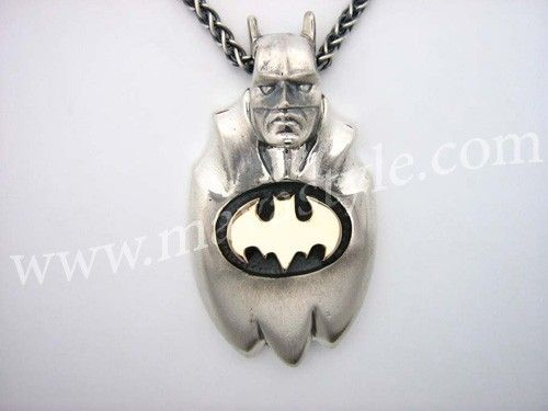 Custom Made Sterling Silver Gold Batman Pendant Bat Man Dark Knight Bruce Wayne Comic Book